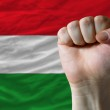 Hard fist in front of hungary flag symbolizing power — Stock Photo