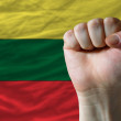 Hard fist in front of lithuania flag symbolizing power — Stock Photo