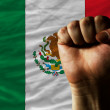 Hard fist in front of mexico flag symbolizing power — Stock Photo