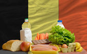 Basic food groceries in front of belgium national flag — Stock Photo