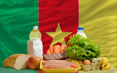 Basic food groceries in front of cameroon national flag — Stock Photo