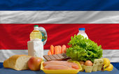 Basic food groceries in front of costarica national flag — Stock Photo