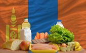 Basic food groceries in front of mongolia national flag — Stock Photo
