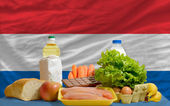 Basic food groceries in front of netherlands national flag — Stock Photo