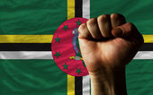 Hard fist in front of dominica flag symbolizing power — Stock Photo