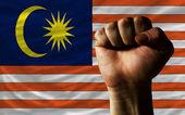 Poing dur devant le drapeau de la Malaisie qui symbolisent la puissance — Photo