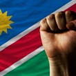 Hard fist in front of namibia flag symbolizing power — 图库照片