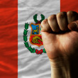 Hard fist in front of peru flag symbolizing power - Stock Photo