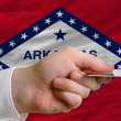 Royalty-Free Stock Photo: Buying with credit card in us state of arkansas