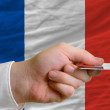 Buying with credit card in france — Stock Photo