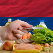 Buying groceries with credit card in armenia — Stock Photo