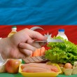 Buying groceries with credit card in azerbaijan — Stock Photo