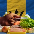 Buying groceries with credit card in barbados — Stock Photo