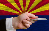 Buying with credit card in us state of arizona — Stock Photo