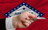 Buying with credit card in us state of arkansas — Stock Photo