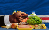 Buying groceries with credit card in cape verde — Stock Photo