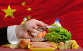 Buying groceries with credit card in china — Stock Photo