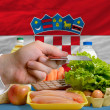 Buying groceries with credit card in croatia — Stock Photo