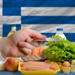 Buying groceries with credit card in greece — Stock Photo