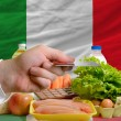 Buying groceries with credit card in italy — Stock Photo