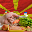 Buying groceries with credit card in macedonia — Stock Photo
