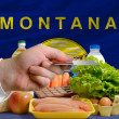Buying groceries with credit card in us state of montana - Stock Photo