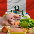 Buying groceries with credit card in peru — Stock Photo