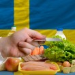 Buying groceries with credit card in sweden — Stock Photo