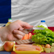Buying groceries with credit card in us state of texas — Stock Photo