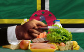 Buying groceries with credit card in dominica — Stock Photo