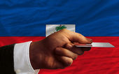 Buying with credit card in haiti — Stock Photo