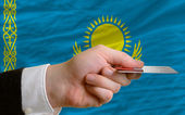 Buying with credit card in kazakhstan — Stock Photo