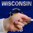 Buying with credit card in us state of wisconsin — Stock Photo