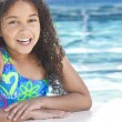 African American Interracial Girl Child In Swimming Pool - Lizenzfreies Foto