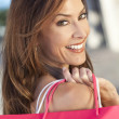 Beautiful Happy Woman With Pink Shopping Bag — Stock Photo #11059614