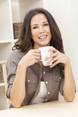 Woman At Home Drinking Tea or Coffee — Stock Photo