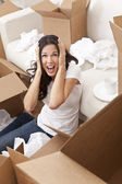 Woman Screaming Unpacking Boxes Moving House — Stock Photo