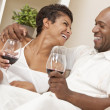 Happy African American Man & Woman Couple Drinking Wine — Foto de Stock