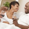Happy African American Man & Woman Couple Drinking Wine — Stock fotografie