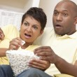Happy African American Woman Couple Eating Popcorn — Stock Photo