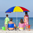 Mother Father Daughter Son Parents Children Family on Beach — Stock Photo