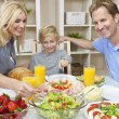 Parents Child Family Healthy Food & Salad At Dining Table — Stock Photo #11458030
