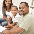 Happy African American Mother Father and Son Family — Stock Photo #11458310