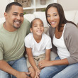 Happy African American Mother Father and Son Family - Stock Photo