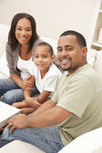 Happy African American Mother Father and Son Family — Stock Photo