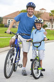 Family Man and Boy Child, Father & Son Cycling — Stock Photo