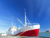 Fishing Trawler against blue sky — Stock Photo