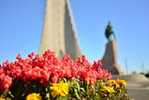 Blurred background of The Hallgrímskirkja — Stock Photo