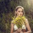 Portrait of a sensual girl in the forest. — Stock Photo