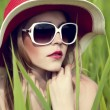 Portrait of a sensual girl in the hat — Stock Photo